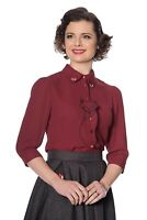 Women's Burgundy Fox Retro Vintage Rockabilly Foxy Blouse Shirt Banned Apparel