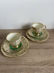 2 Vintage Art Deco Plant Tuscan Green & Gold Filigree Trios  (1 Cup With Damage)