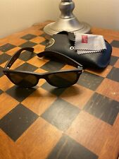 Ray-Ban RB 2132 New Wayfarer Black-Crystal Green Sunglasses Excellent Condition