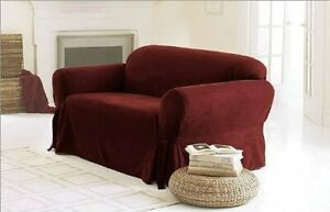 """Burgundy Micro Suede Classic Sofa Slipcover 