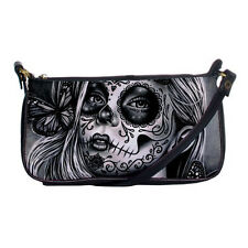 Rockabilly Lolita Goth Sugar Skull Girl Tattoo Small Shoulder Clutch Purse Bag