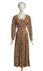 Vintage 80s Laura Ashley Cottage Style Lace Collar Dress Floral Button 12UK 8US