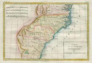 Original antique map of Georgia, the Carolinas, Virginia by Rigobert Bonne 1780