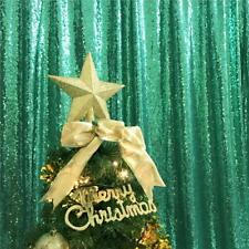 TRLYC 2FT by 8FT Christmas Blue Sequin Curtain Backdrop for 8FT,