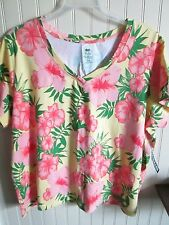 PALM HARBOUR LADIES TOP SIZE 3X YELLOW PINK FLORAL  NWT