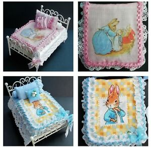 Handmade 1/12th Scale Dolls House Beatrix Potter Print BEDDING for SINGLE Bed.