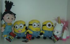 5 X Despicable Me plush toys Agnes, Unicorn & Minions Authentic NEW