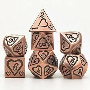 7Pc/Set Red Copper Heart Embossed Heavy Metal Polyhedral DND Tabletop Game Dice