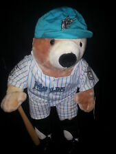 Vtg Inaugural Year 1993 Miami Florida Marlins Bear Plush Stuff Animal Hat Bat
