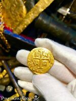 "PERU 8 ESCUDOS 1711 ""1715 FLEET SHIPWRECK"" RAW PIRATE GOLD COINS TREASURE"