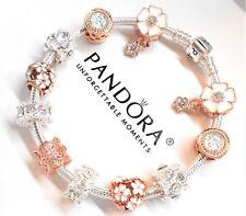 Authentic PANDORA Silver Charm Bracelet LOVE FAMILY HEART GOLD European Beads.