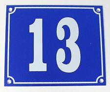 """Aluminium Hausnummer """"13"""" 12x10cm blau Hausnummernschild sofort lieferbar Schild"""