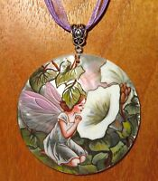 Pendant The White Bindweed Flower Fairy Genuine hand painted SHELL signed Zemina