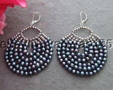 Black Pearl Earrings  Sliver Lever Back