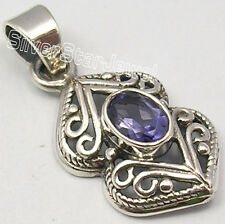 """925 Pure Silver Sparkling IOLITE MADE IN INDIA Pendant 1.3"""" CHEAPEST SHIPPING"""