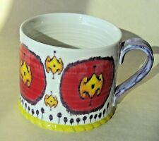 Anthropologie Floral Mug Red Yellow Purple Big Flower Shows Up When You Drink Up