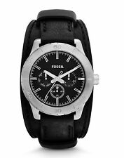 NEW FOSSIL KIPTON MULTIFUNCTION BLACK LEATHER MEN'S WATCH BQ1054