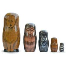5 Dogs Wooden Russian Nesting Dolls Matryoshka 6.5 Inches