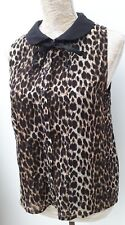 BNWT Glamorous Ladies Size 12 Black Brown Animal Print Tunic Top Autumn Fashion