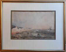 Shipping off the White Cliffs of Dover. Original watercolour circa 1880