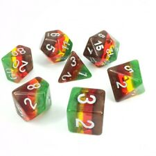 NEW Gradient Green Yellow Brown Autumn Poly Dice Set (7) with Silver New RPG DnD