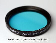 Schott S8612 58mm x 2mm IR Cut Filter, UV + Visual Bandpass, IR Suppression