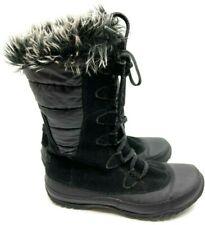 North Face Black Snow Boots Mid Calf Suede Faux Fur Lace Up Rubber Sole Size 9
