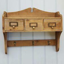 MENSOLA da parete in legno da appendere Display Unit cassetti di Archiviazione Ganci