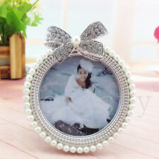 """3"""" Photo Picture Frame Crystal Pearl Diamond Bowknot Wedding Home Decor Gift New"""