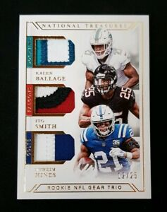 2018 National Treasures Football Ballage/Smith/Hines Rookie NFL Gear Trio #/25