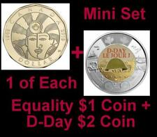 2019 CANADA 🥇 D-Day $2 Dollar Coin - Colored + $1 EQUALITY $1; BU from Roll 🏆