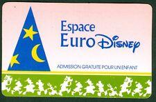PASSEPORT ESPACE EURO DISNEY  ADMISSIONS POUR UN ENFANT  BON ETAT N° 3
