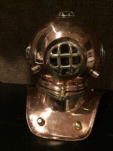 "Diving Helmet Replica Of Helium Helmet, 8-1/2""tall 8-1/2""wide, Copper Finished"