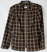 Maggie Lawrence Women's MED Brown Plaid Zipper Front LS Lined Lightweight Jacket