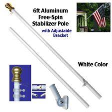 6ft Aluminum Spinning Stabilizer Flag Pole White Bracket Tangle Free (w/ Flag)