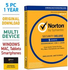 Norton Security 3.0 Deluxe 5 PC Geräte 1 Jahr 2018 Mac Android Internet Security
