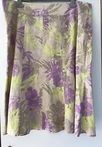 Ladies Linen Skirt Floral Pattern size 22