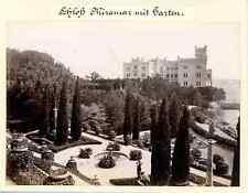 Italia, Schloss Miramar mit Garten  Vintage albumen print. Castello di Miramare