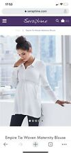 White Seraphine Maternity Shirt 'Empire Tie Woven Maternity Blouse' Size 8