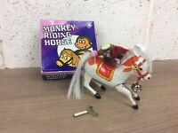 Vintage Tinplate Clockwork Monkey Riding Horse Toy MS764