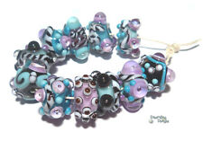 BUZZ BOXX Lampwork Beads Handmade - Turquoise Blue Purple Black White - Funky 11