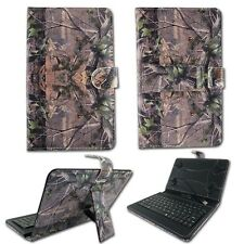 For RCA 7″ Voyager II Green Camo Leave KickStand Micro USB Keyboard Case Cover