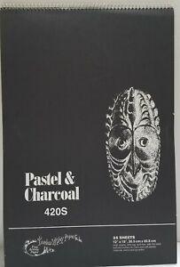 "#420 Charcoal/Pastel  12"" x 18"" Black Sketch Pad, 25 Sheets-Top Spiral,"