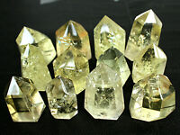 BEST OF COLOR ! NATURAL CLEAR CITRINE QUARTZ CRYSTAL POINT HEALING(12)