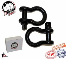 """D-Rhino 2pc 3/4"""" D-Ring Shackles JEEP OFF ROAD Towing Chain Bow Buckle Black 4¾T"""
