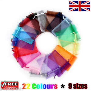 1 x Organza Gift Pouch Wedding Favour Bag Jewellery Pouch 23 Colours & 9 Sizes