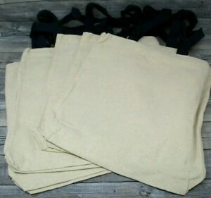 Blank Canvas Tote Bag lot of five 14 x 14 blue handles nice quality craft