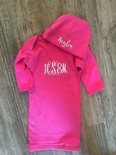 Personalized Baby Gown And Hat Set.  Available In Baby Blue, Hot Pink, Or Black