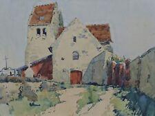 Église romane aquarelle postimpressionniste french landscape paesaggio France