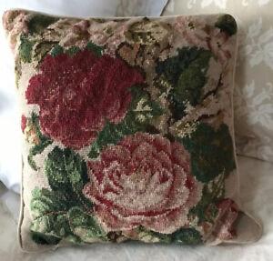 "Vintage Needlepoint Floral Rose Pillow w Velvet Back 15"" Square - Exceptional"